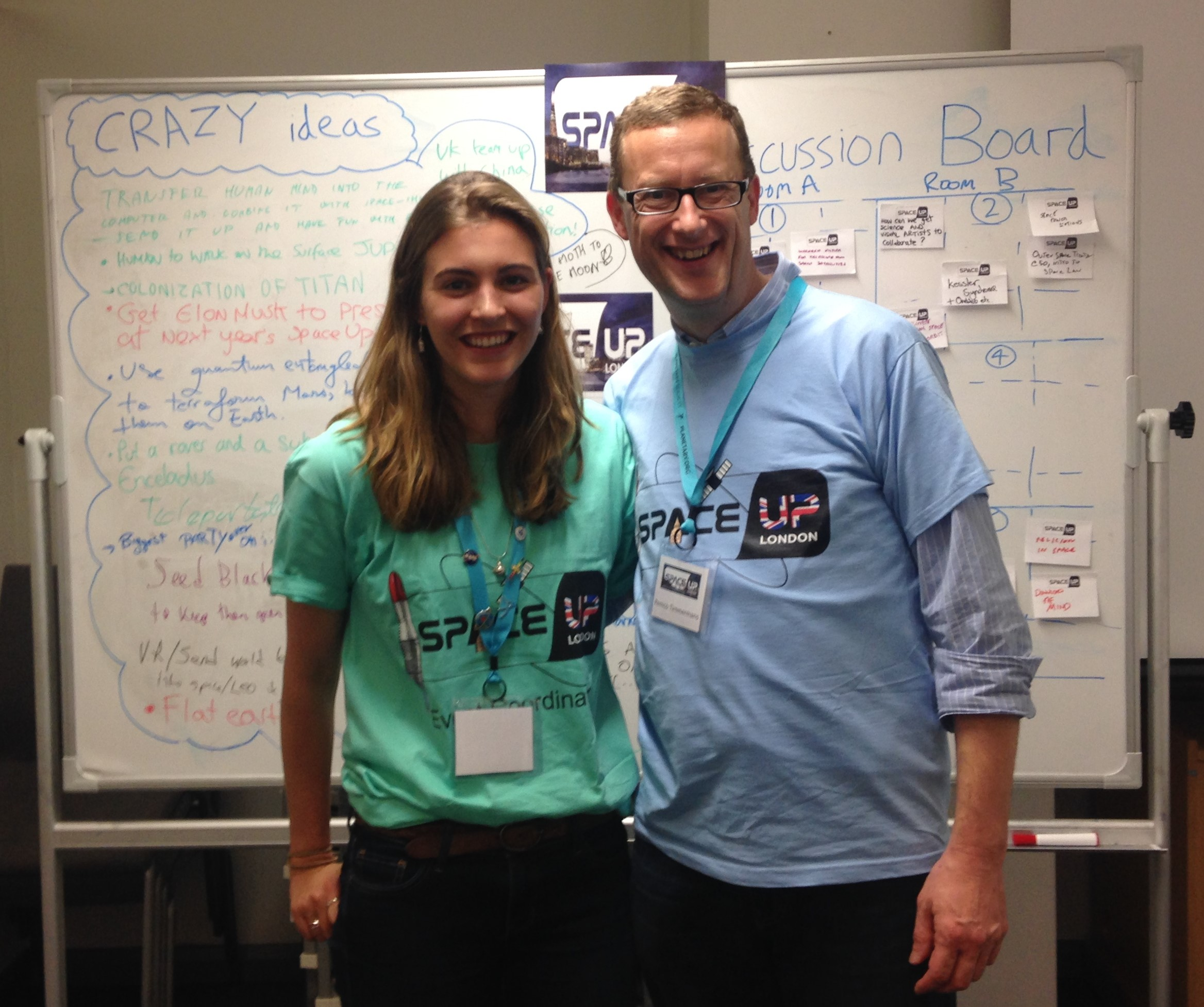 Lead organiser Harriet with SpaceUp CEO Remco Timmermans.JPG