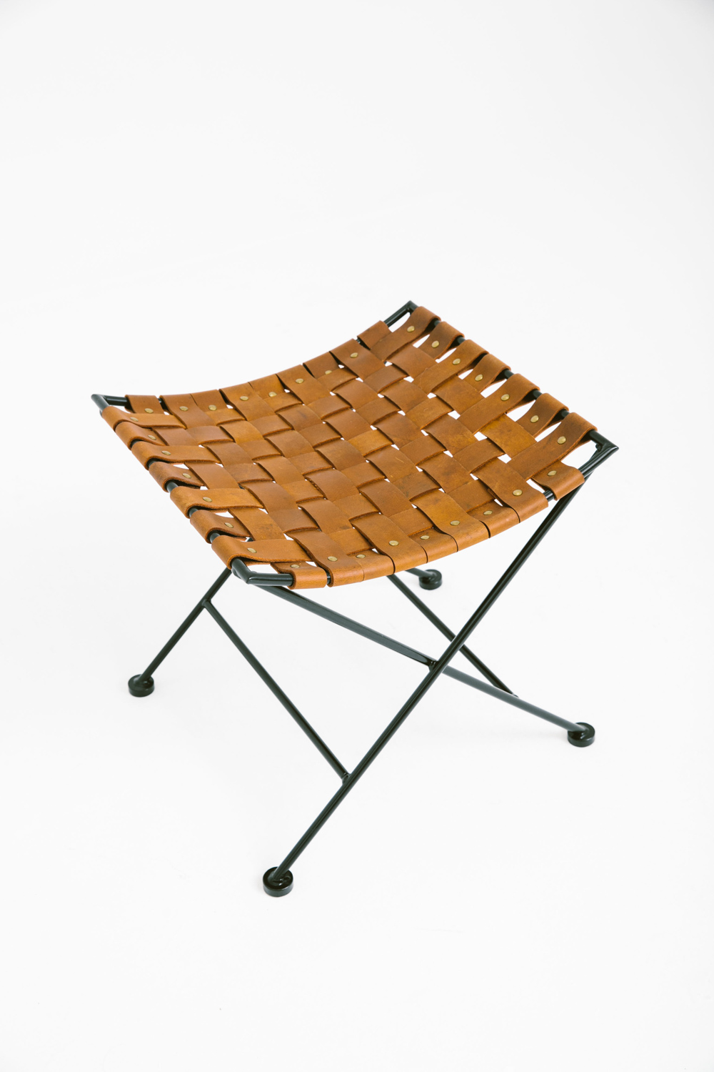 Woven Leather Stool Black