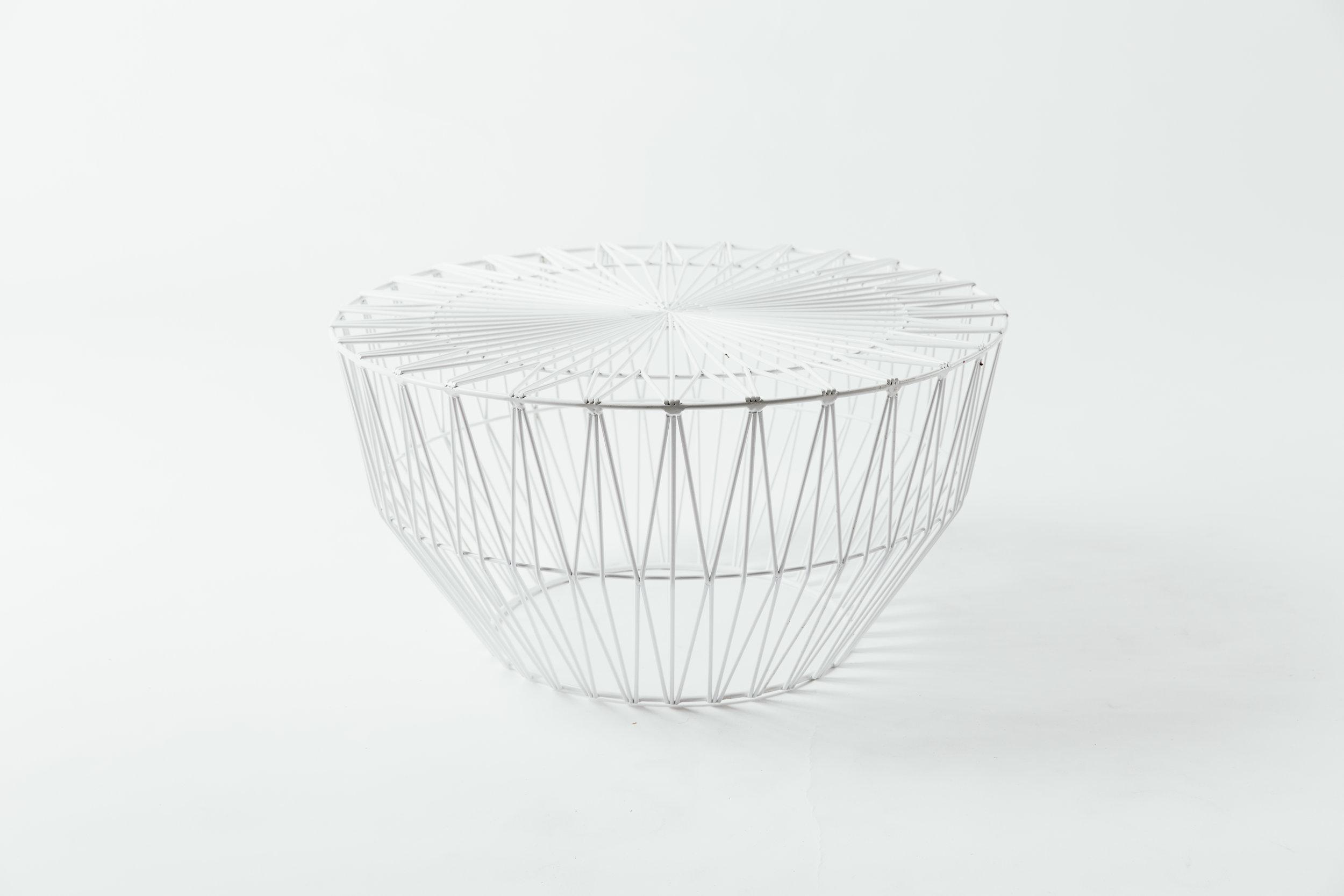 Bend Wire Ottoman White