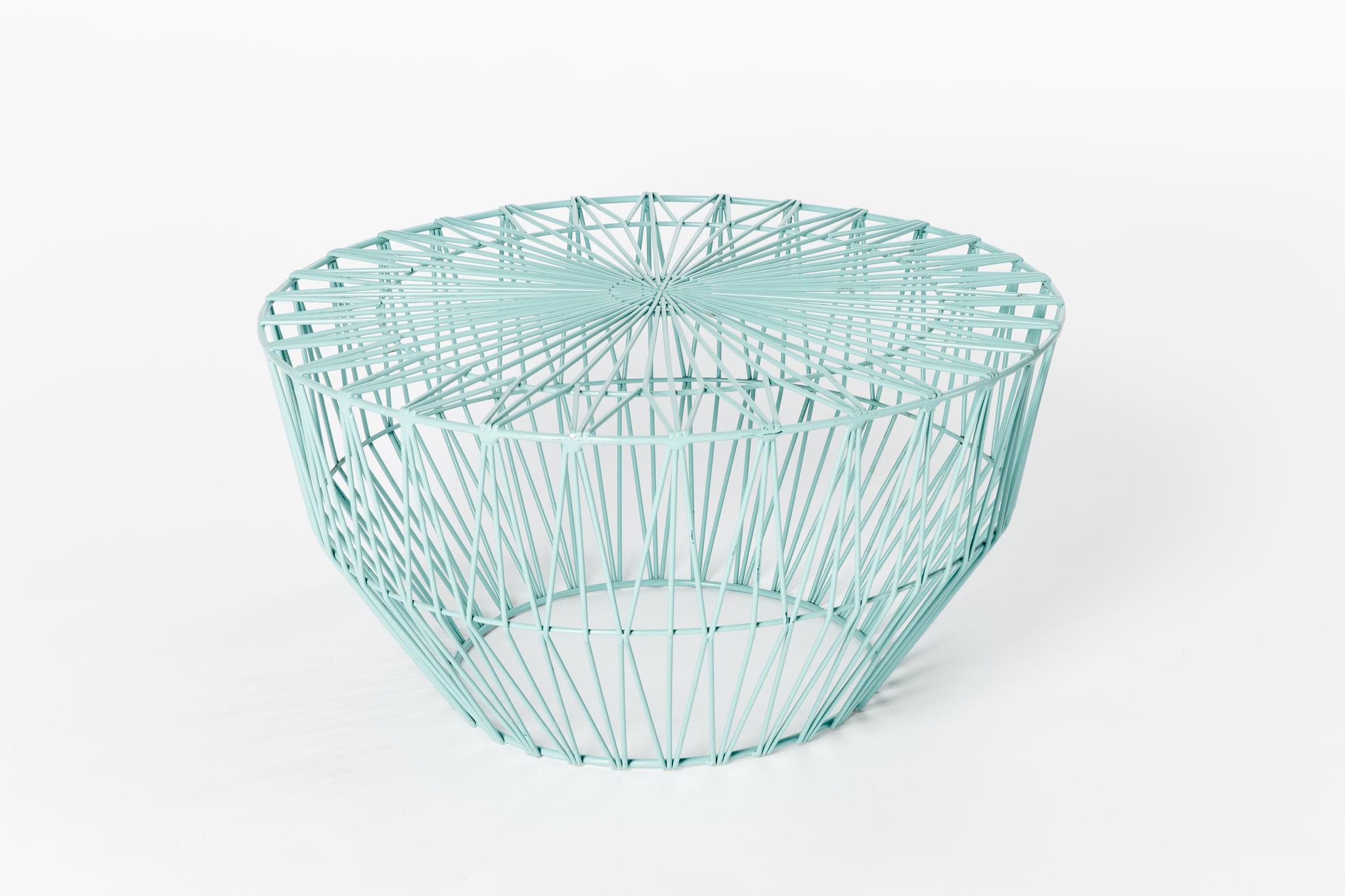 Bend Wire Ottoman - Aqua