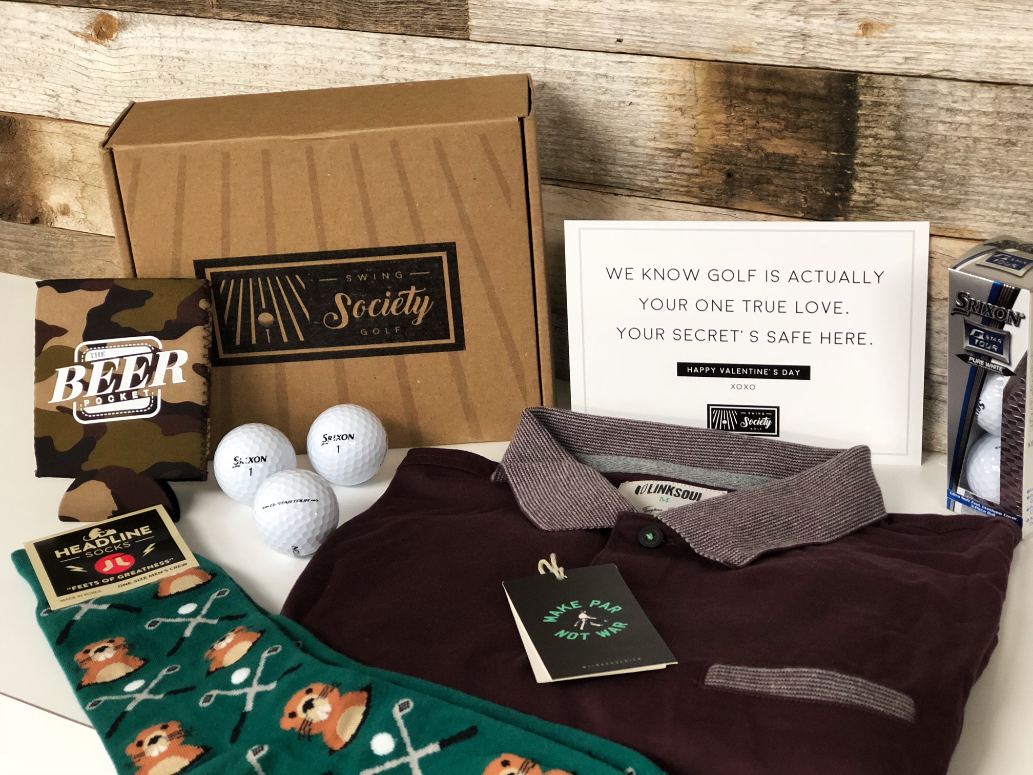 CONTENTS:   linksoul polo [$70]  gophers & golfers socks [$12]  srixon golf balls [$7.50]  the beer pocket koozie [$4]