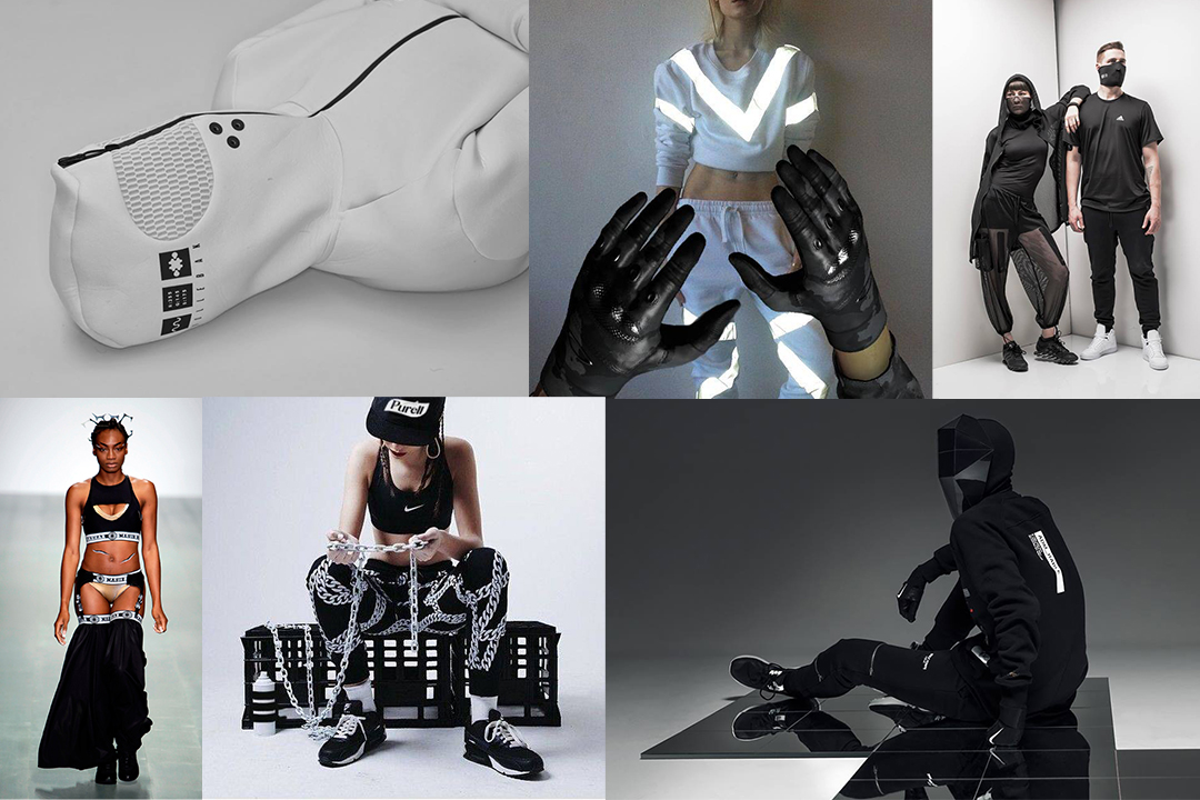 Keywords that best describe the health goth aesthetic include: mesh, prosthetics, performance brands and tactical gear...to name a few. Photo Credit: Health Goth Facebook fan page