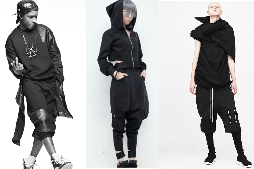The health goth aesthetic was heavily influenced by the music scene (first photo: A$AP Rocky), street wear influencers (second photo) and designer Rick Owens (last photo: a sample from Owen's DRKSHDW 18' collection).