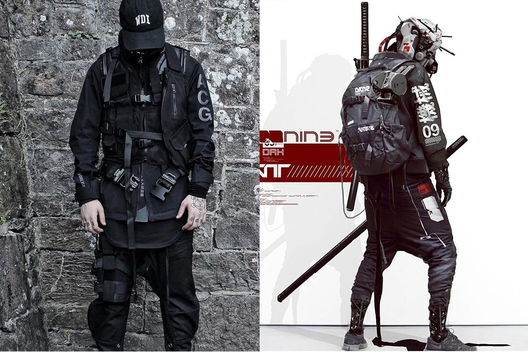 Artistically, techwear is portrayed with buckles, straps and hardware. It is often inspired by apocalyptic meets futurism themes.
