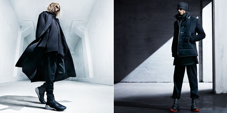 The Y3 clothing line features all-black ensembles with a mix of structured lines and flowy silhouettes.
