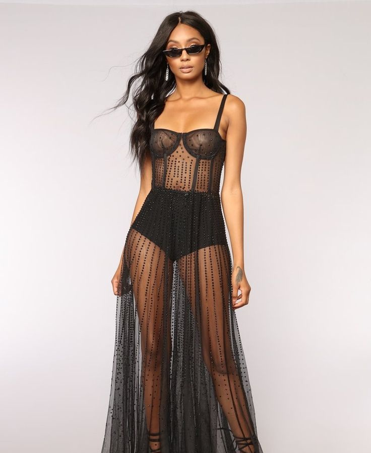 Available In Black Mesh Dress Studded All Over Sleeveless Square Neckline Sheer 100% Polyester  Made in USA.jpg
