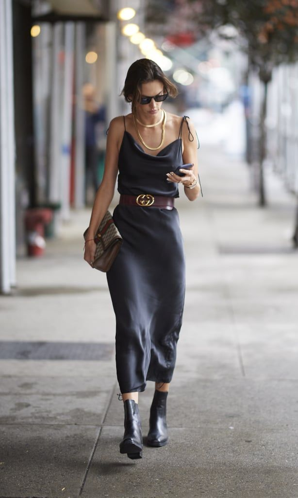Photo of Alessandra Ambrosio Walked the Streets During NYFW in a Gray Slip Dress and Gucci Belt.jpg