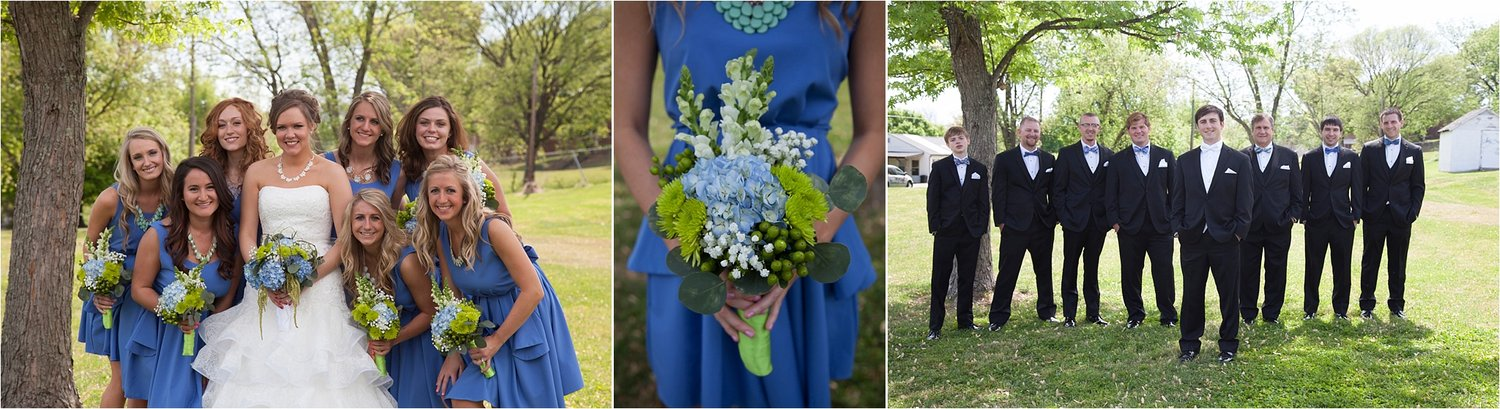 With seven bridesmaid in cornflower blue dresses & seven groomsmen in coordinated bowties, this bridal party was dressed to impress!Desire gifted her bridesmaid's with unique teal necklaces that pulled the blue hydrangeas from their blue and green bouquets.