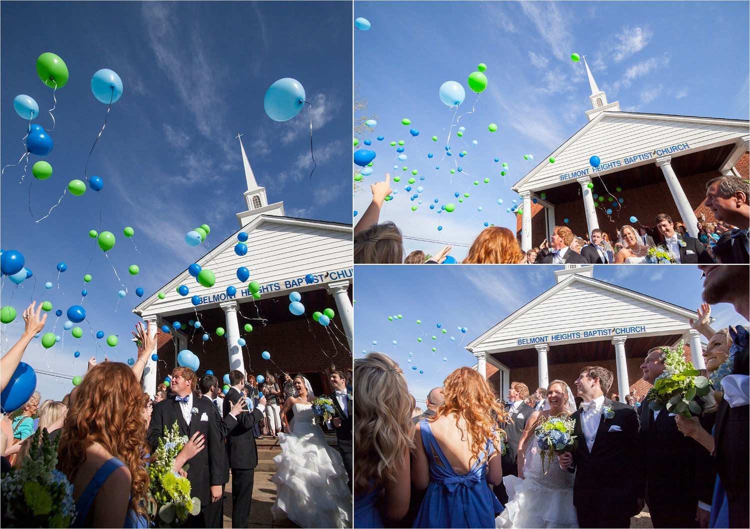 As the couple exited the church, an impressive display of balloons were released into the air.