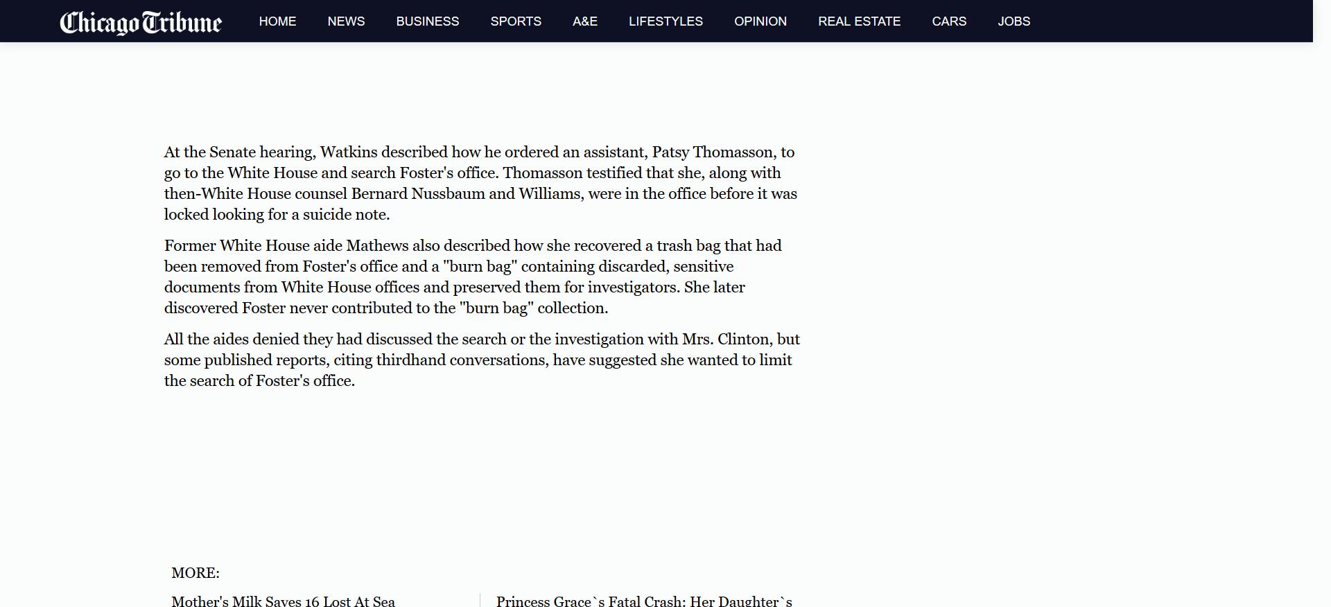 Mathews retrieved burn bag of Whitewater documents Chicago Tribune.png