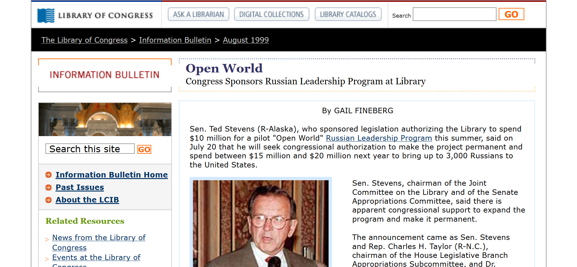 Ted Stevens starts Open World program.png