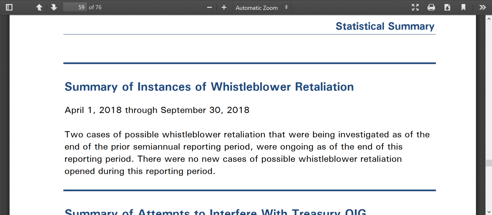 OIG Treasury Sept 2018 76 pages whistleblowers.png