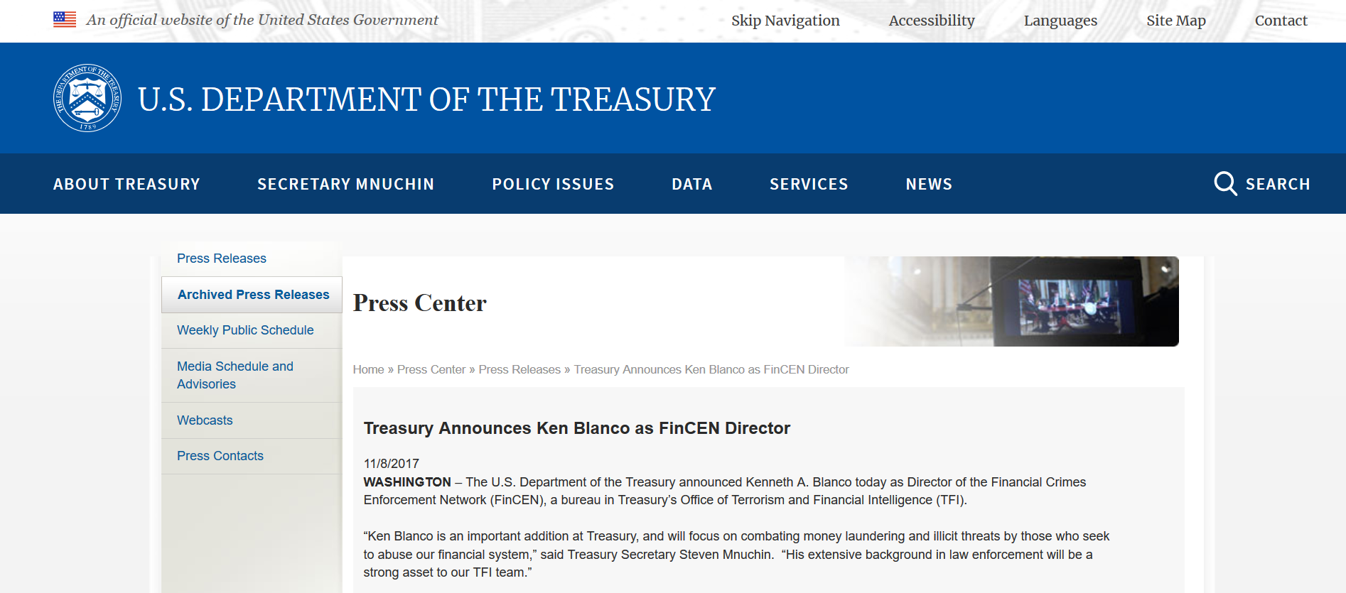 Blanco named FinCEN Director press release.png