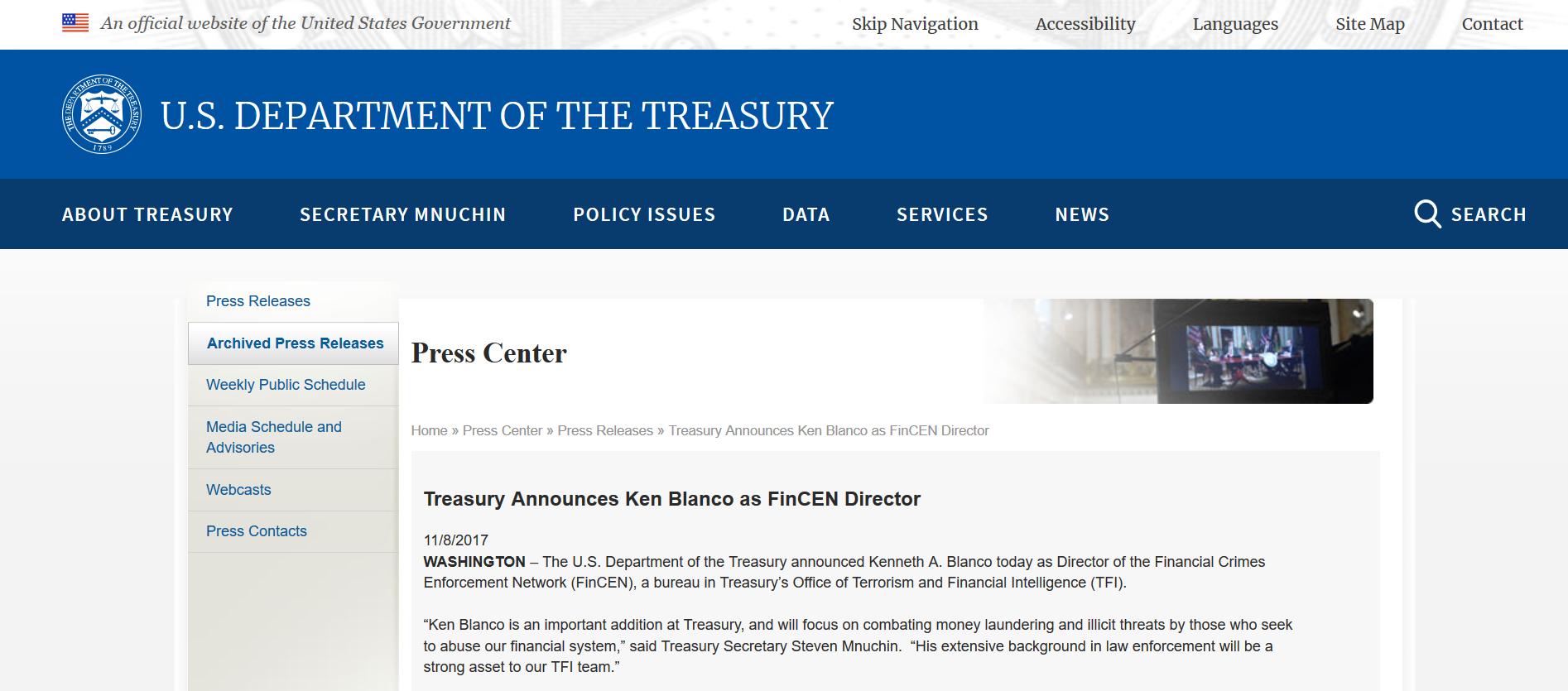 Blanco named FinCEN Director press release.png