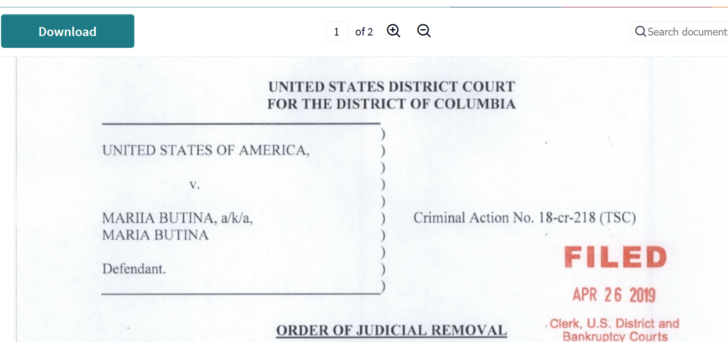 Butina orderr of judicial removal top half date filed stamped.png
