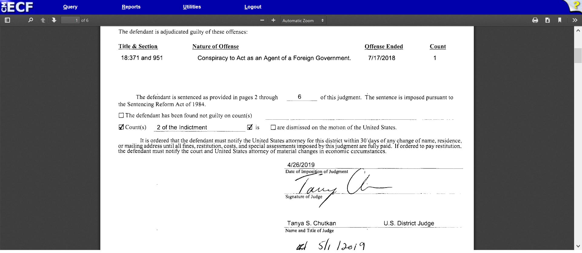 Chutkan signature judgment of Butina criminal offense dated April 26 2019.png