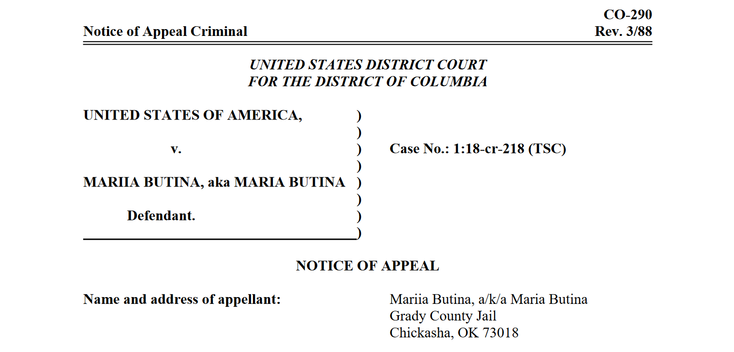 Butina appeal notice 1 18-cr-218 TSC.png
