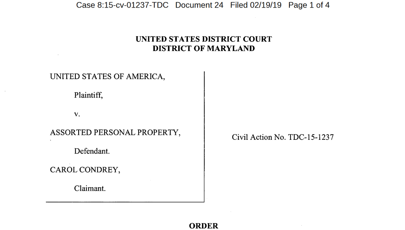 Carol Condrey forfeiture case.png
