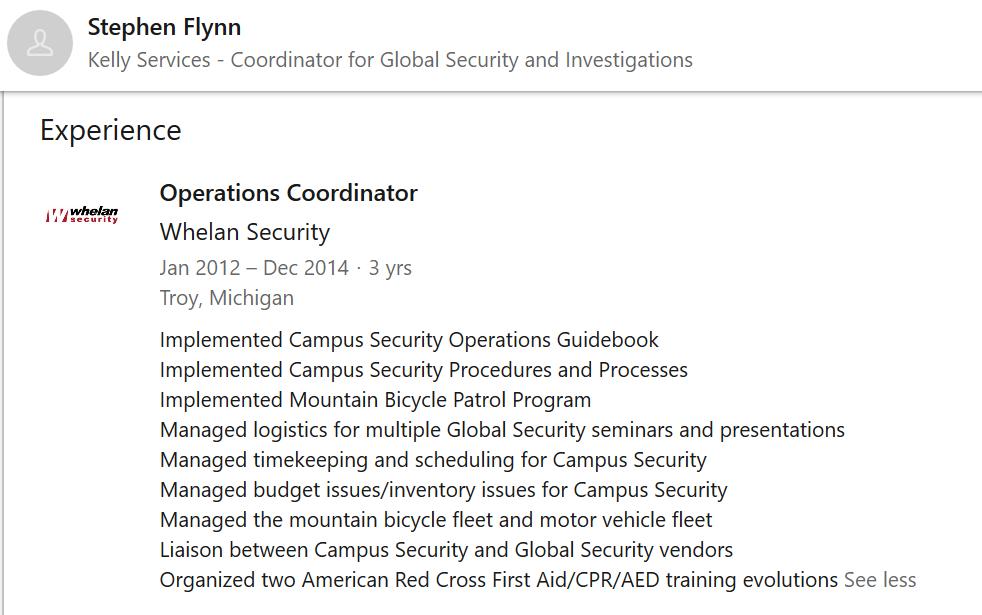 Stephen Flynn 2012 to 2015 Whelan Security.png