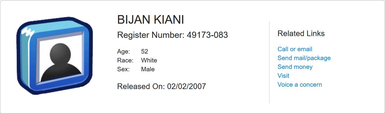 Kiani inmate locator Feb 2nd 2007.png
