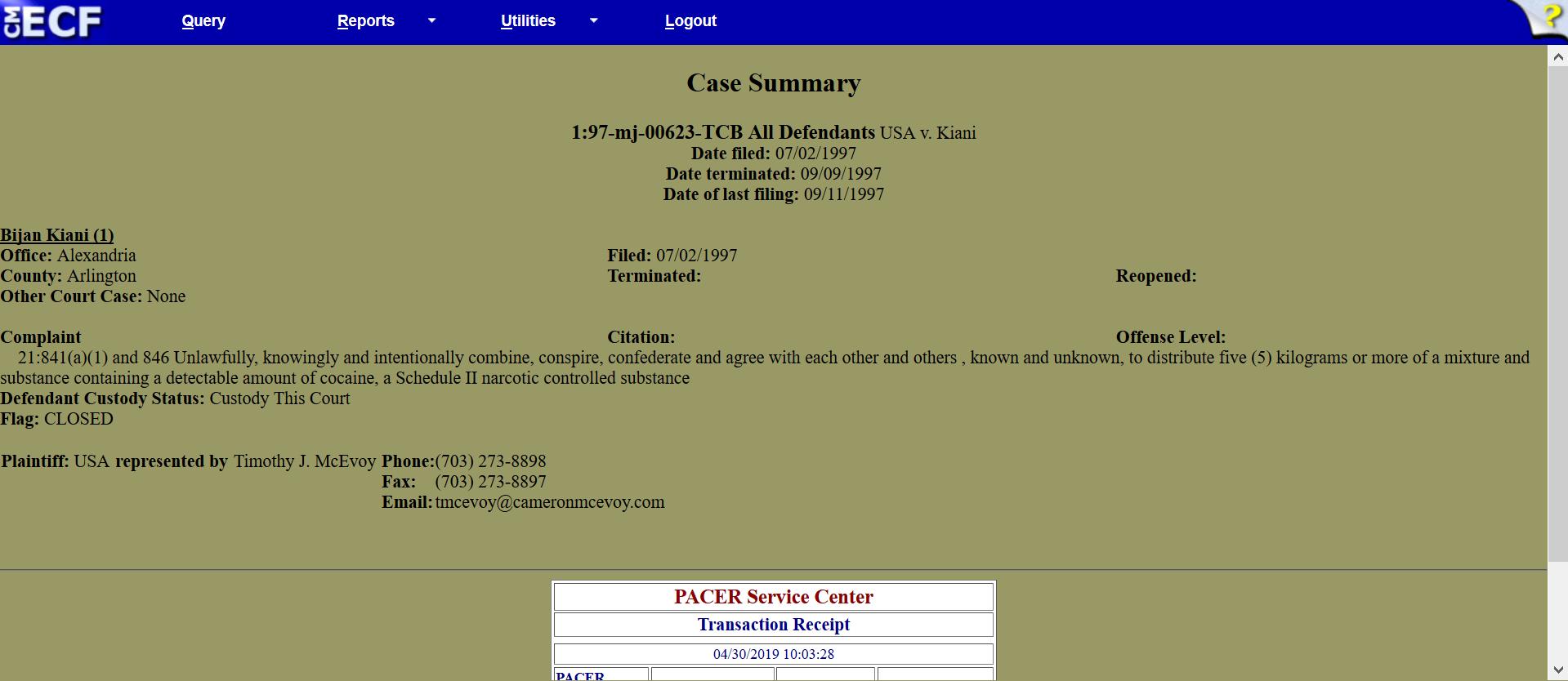 Kian five kilos of cocaine 1997 case also in Alexandria.png