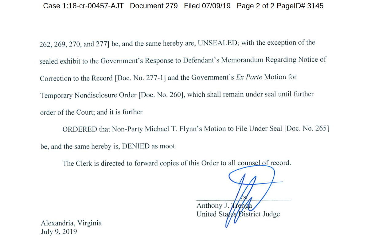 TRENGA July 9th ruling Flynn co conspirator page two judge signature.png