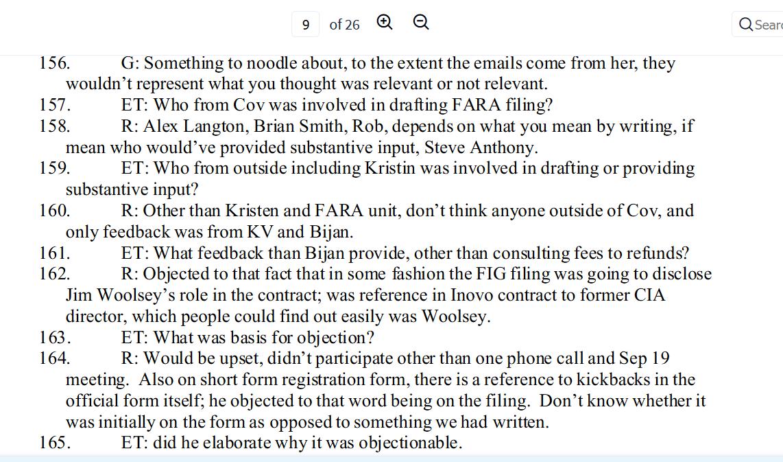 Kelner Kristen FARA staff wrote it 160 plus Jim Woolsey 162 as kickback Sept 19 in Inovo contract.png