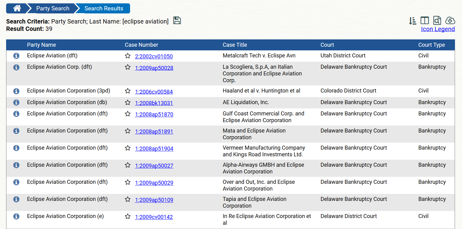 Eclipse Aviation eight different bankruptcy cases on Pacer 39 total.png