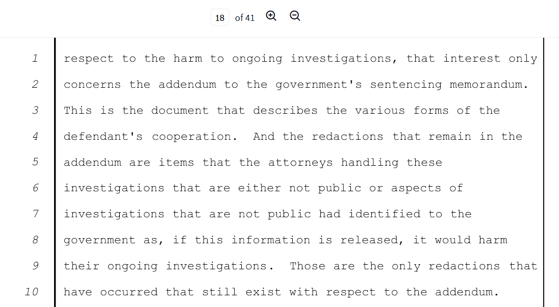 Flyn page 18 fight over pending investigations addendum is a separate doc.png