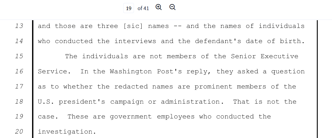 Flynn pagge 19 none involve members of Trump Administration.png