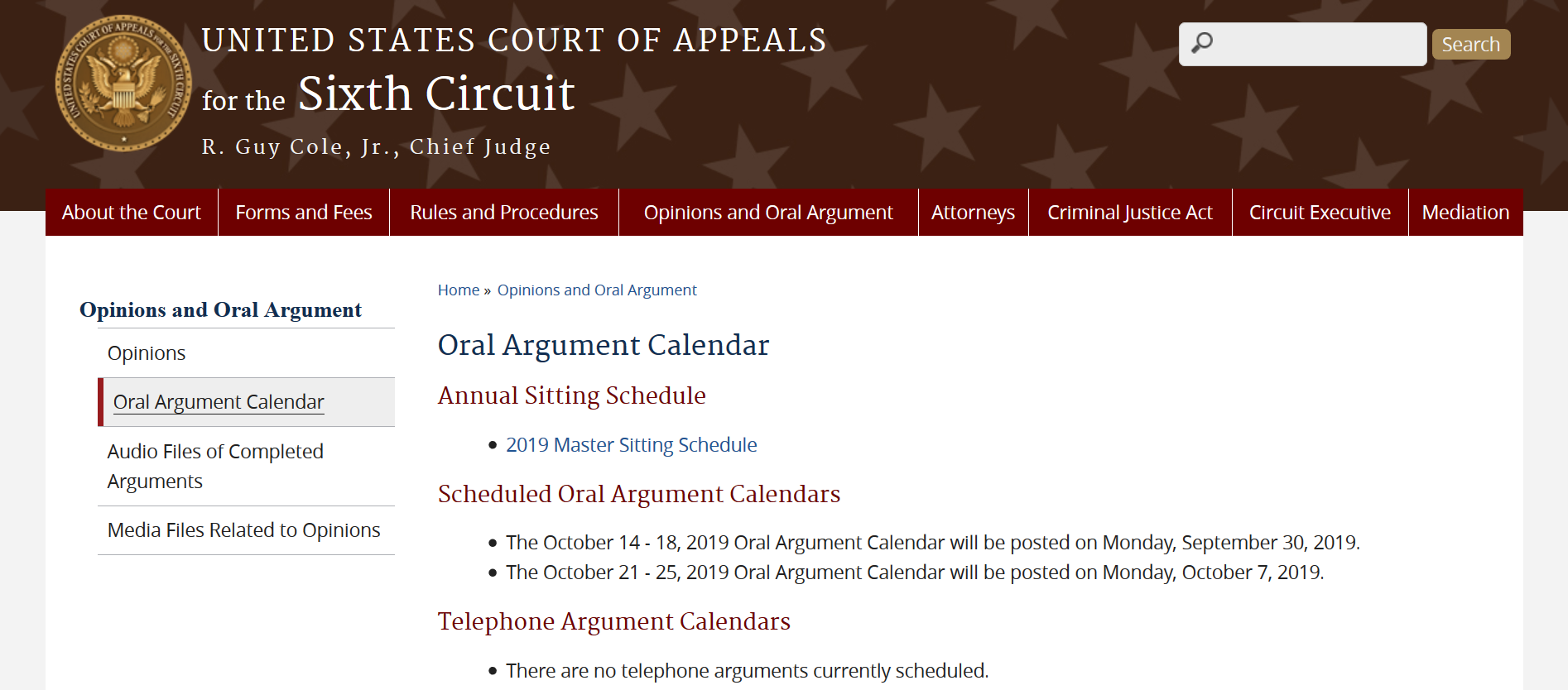 Hazelwood Oral Argument Calendar Sixth Circuit United States Court of Appeals.png