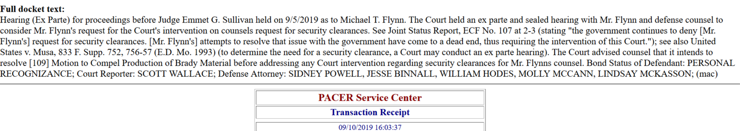 Flynn Powell security clearance dec delayed Sept 5th 2019.png