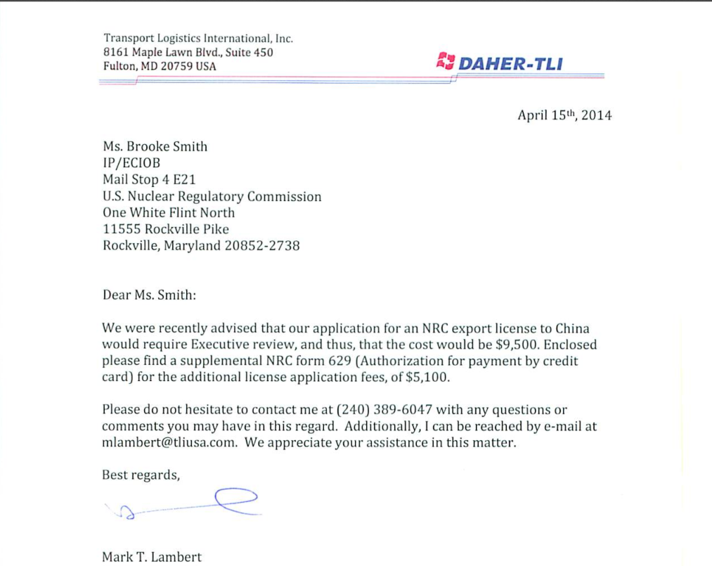 Lambert shipping to China NRC letter 2014.png