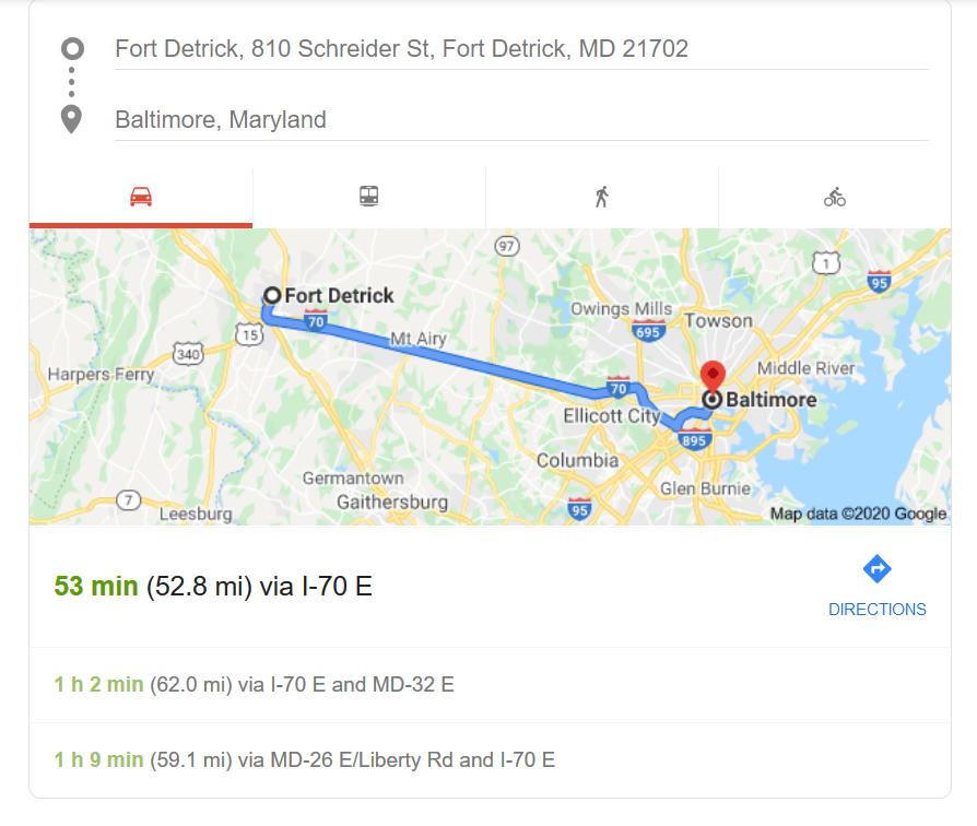 Ft Detrick 53 miles west of Baltimore.png