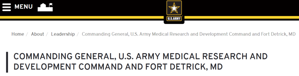 Ft Detrick Commanding Gen headline Talley.png