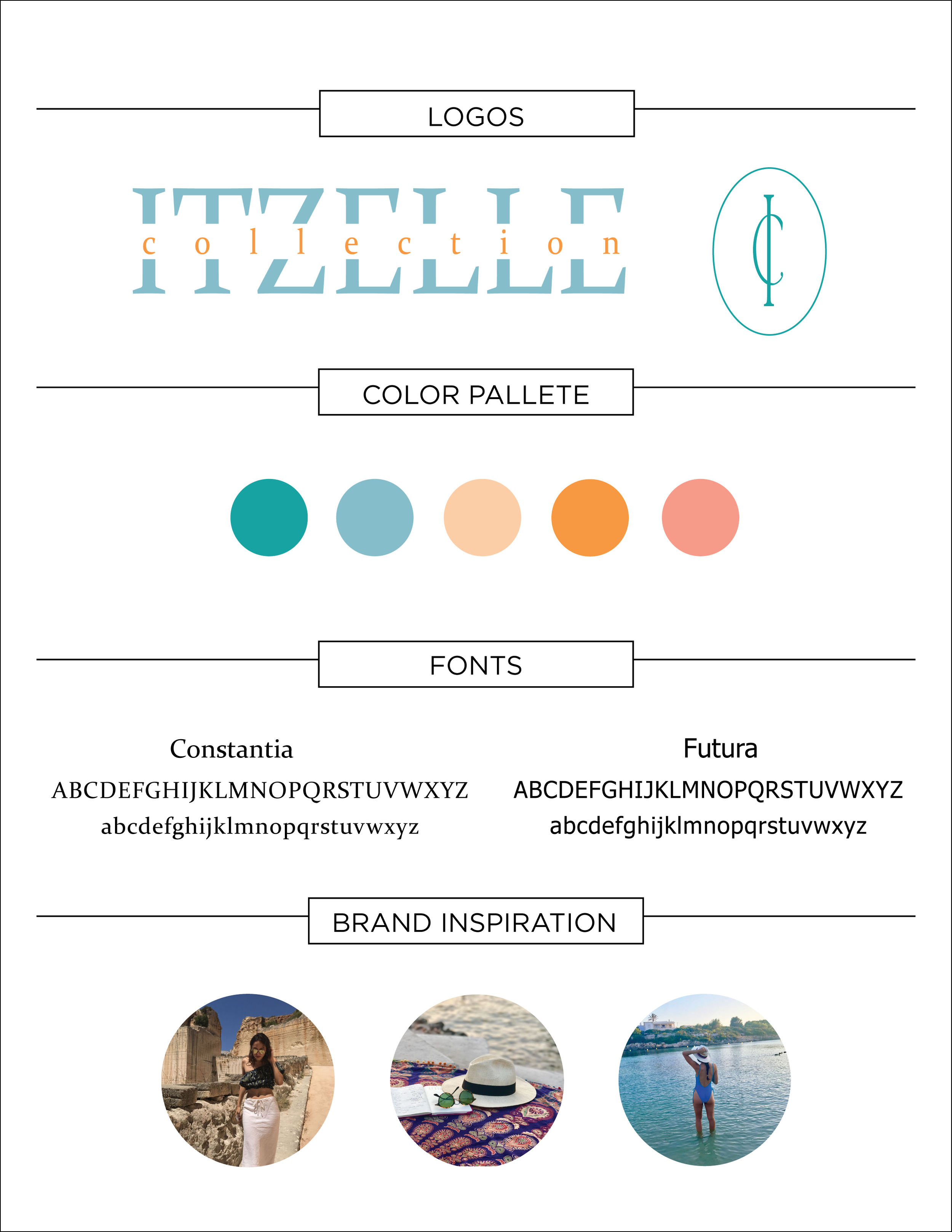 Itzelle Collection Branding Guide - During the branding process I worked with the designer to understand where her inspiration came from so that I could infuse that into the brand identity. Itzelle Collection sells avarcas from the island of Menorca off of Spain. I spoke with the designer about what colors, textures, and places on the island inspired her the most. With that information I created this guide.