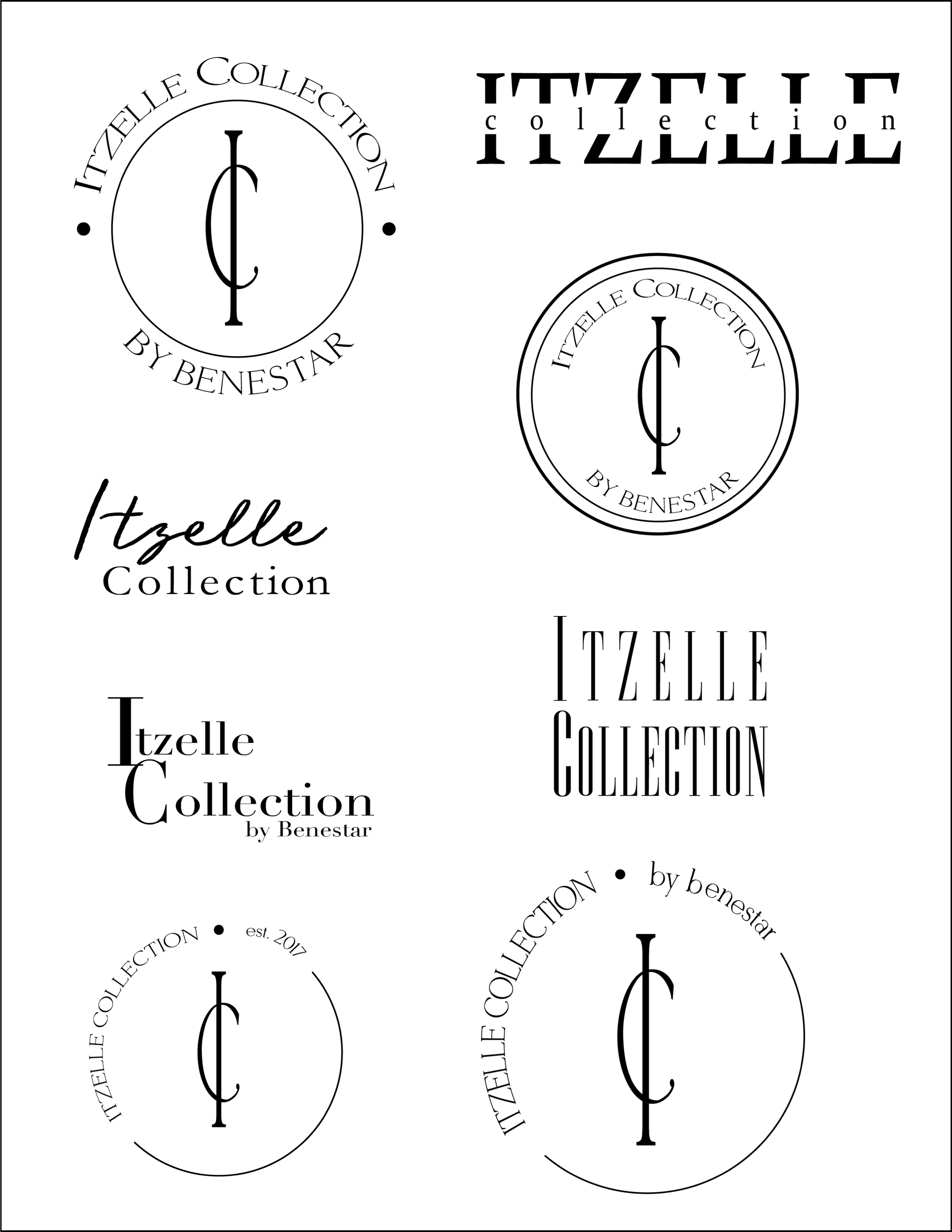 Itzelle Collection Logos - Logo sheet used at the beginning of the branding process