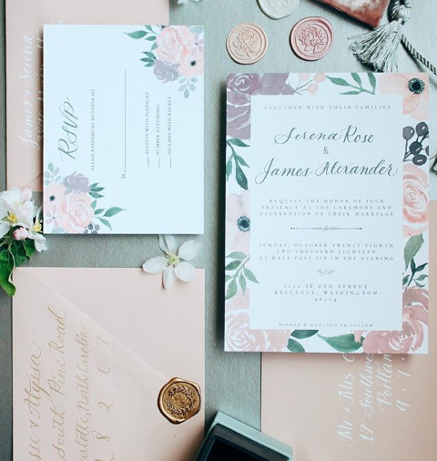 The Serena  The Serena features hand painted watercolor florals and calligraphed details. The prominent colors of this suite are blush, mauve, soft plum and shades of green. The Serena starts at $250 for 100 invitation sets including the invitation and rsvp card, as well as blank envelopes for both.