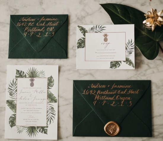 The Jasmine  The Jasmine features watercolor tropical leaves and gold text. This suite, looks especially beautiful with gold foiled text snd deep green envelopes. Text color, border color and envelope color are fully customizable to match your event. The Jasmine starts at $225 for 100 invitation sets including the invitation, rsvp card, and blank envelopes for both.