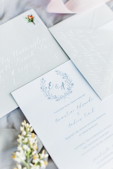 The Emmaline  The Emmaline features hand drawn line florals and calligraphed details. This suite is available in just about any color you can think of! The Emmaline starts at $250 for 100 invitation sets including the invitation and rsvp card, as well as blank envelopes for both.