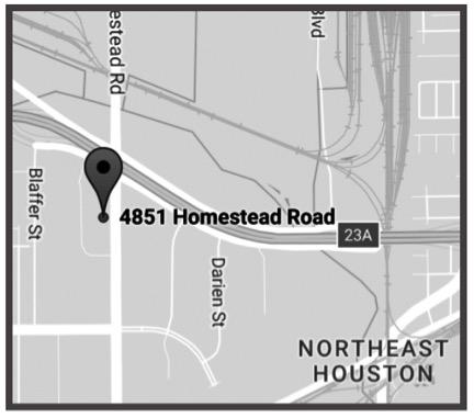 HOUSTON - 4851 Homestead RdSuite 148Houston, TX 77028Ph: 713-678-4283Fx: 713-675-1795