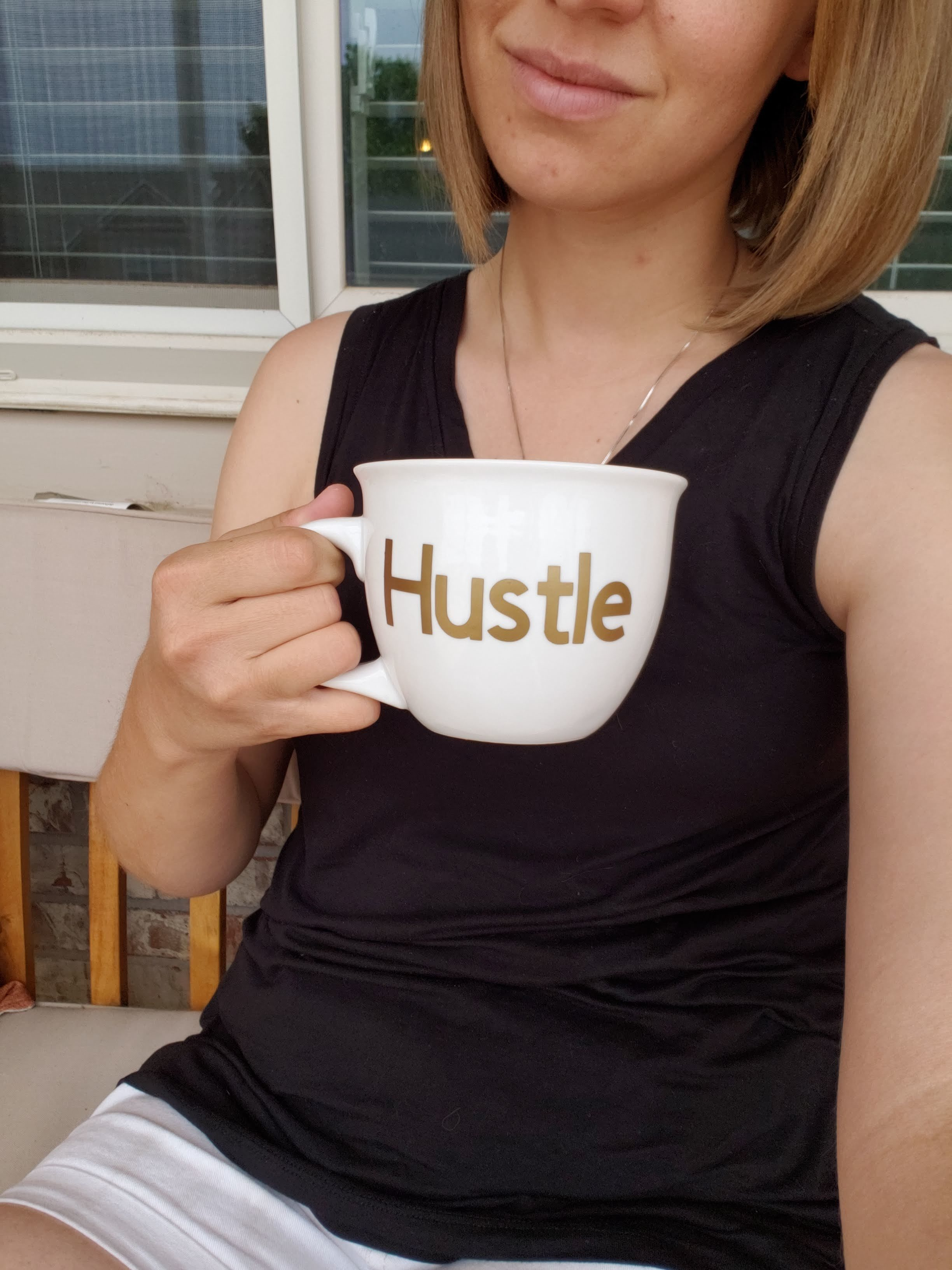 Just hustling away in my  Dual Tank . I love how versatile this top is, as I can easily dress it up for church or date night, or pair it with shorts when spending a day at home (drinking coffee and snapping unflattering selfies).