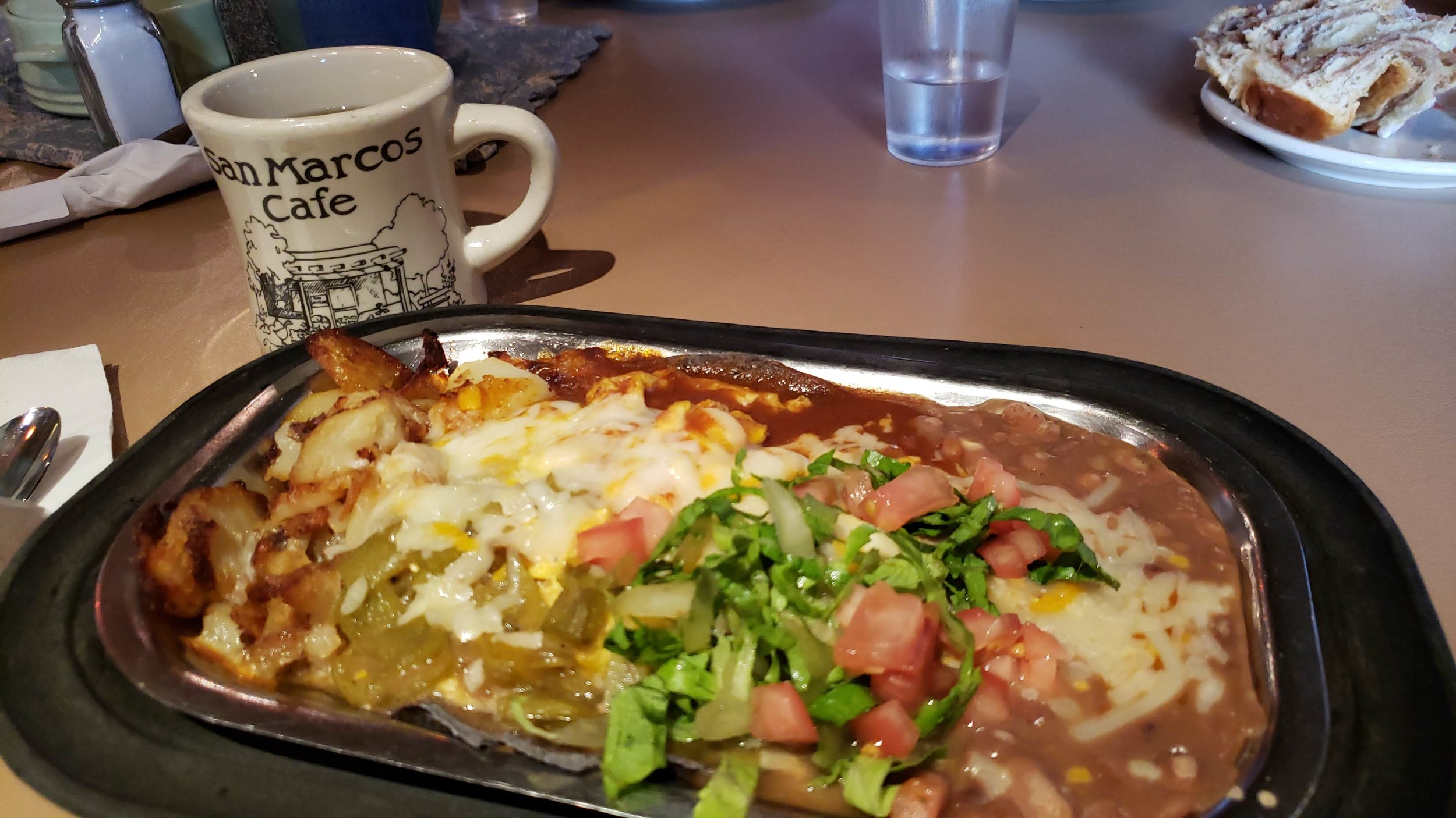 Breakfast at the incredible San Marcos Cafe & Feed Store: Christmas-style Huevos Rancheros (what else?) and coffee.