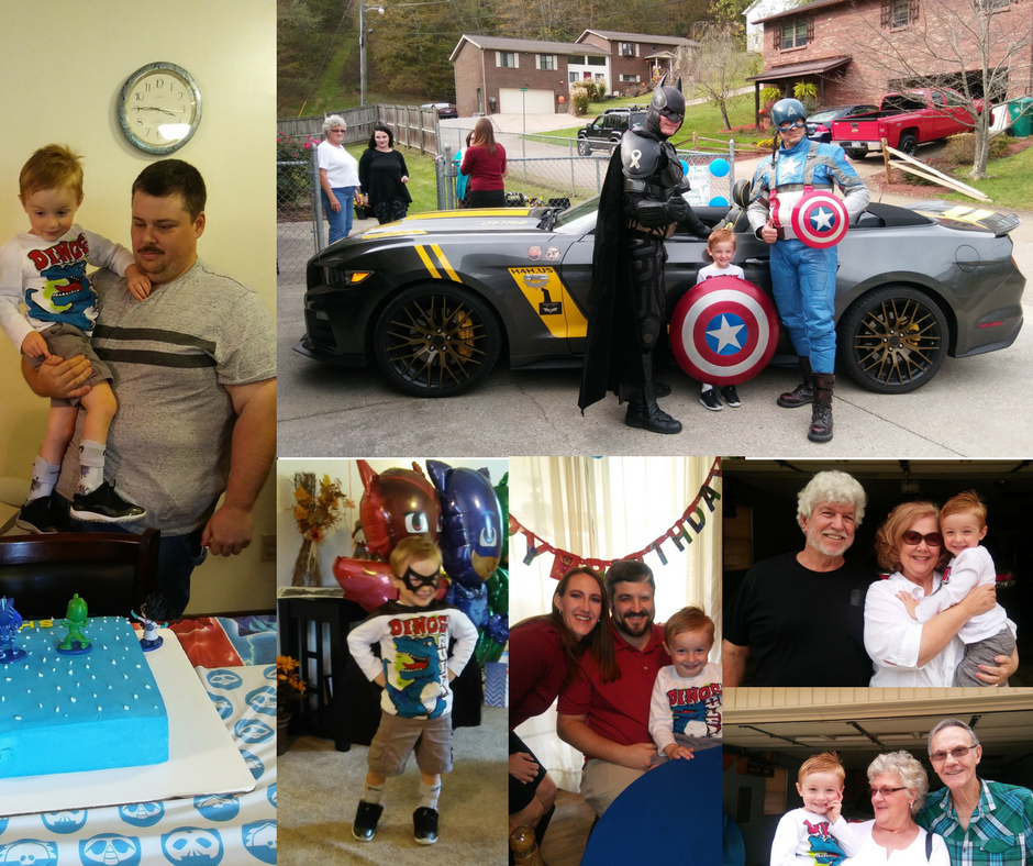 Grammy scheduled to have Batman and Captain America come see him on his special day!!