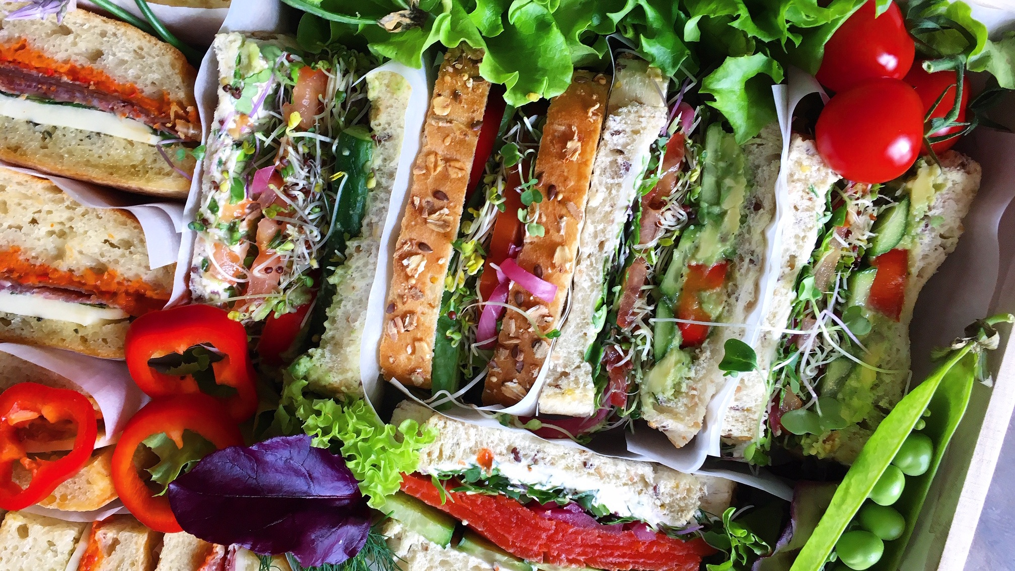 Now Offering Sandwich Box Platters! - Bright, beautiful and always the freshest! with the extra special styling and incredible ingredients that only B&B offers.