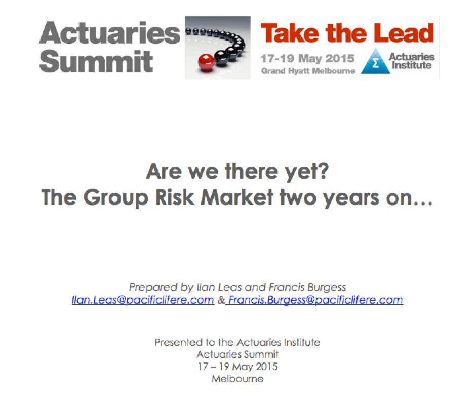 Are we there yet? The group risk market 2 years on... - Actuaries Institute - Excerpt: 'The authors concluded that potentially the most significant barrier to change is the misalignment between the manufacturers (both insurers and reinsurers) and the consumers (ultimately the member but represented by the trustees).'