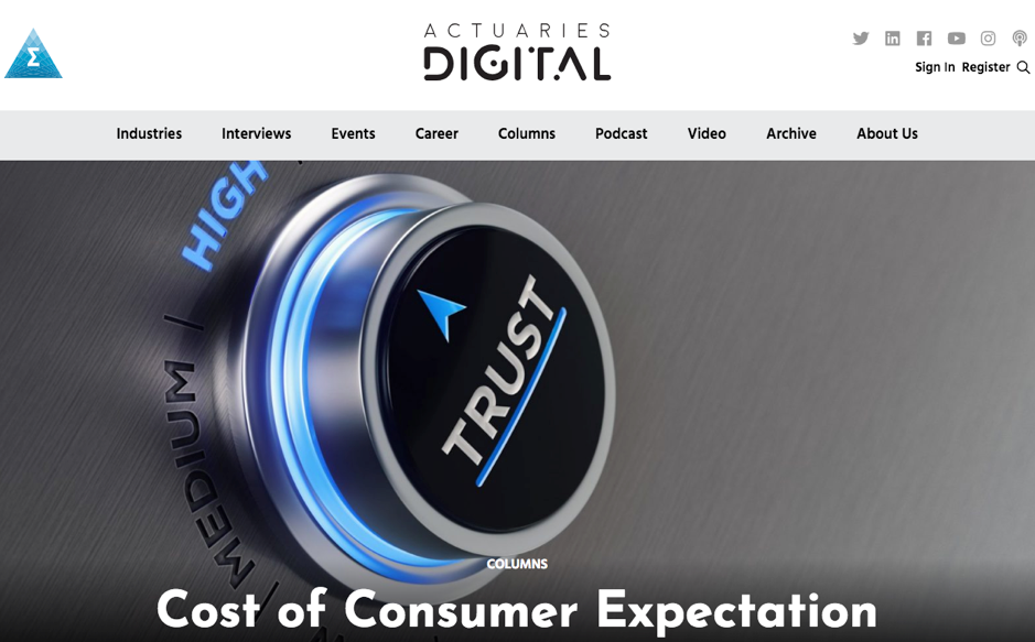 Actuaries Digital March 2019 - Excerpt: 'Community standards and expectations' … the idea is that financial service companies (including insurers) need to align their business model with what consumers expect and not just the letter of the law.