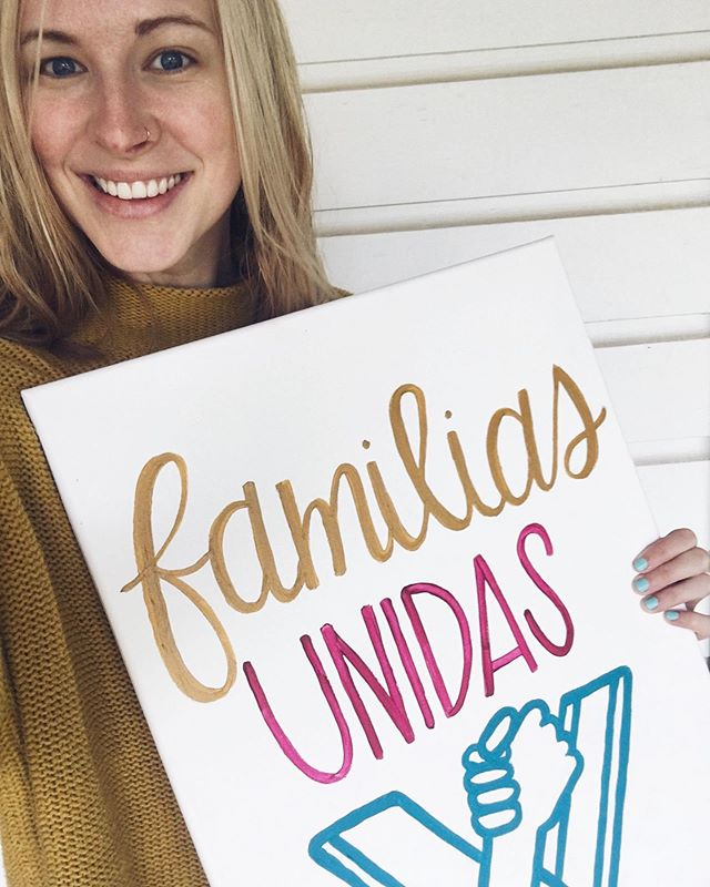 FAMILIAS UNIDAS   FAMILIES BELONG TOGETHER 🤟🏾 . Wacotown, tomorrow @waco_ia is hosting their second annual families belong together rally, and I promise you do not want to miss it! Peep some PLCo. signage I created for the event. You know I loved doing this because of my core belief that beauty matters and has a role to play in fighting injustice! ANDDDD kicking xenophobia's @$$ is one of my favorite hobbies 😉. .  One of my greatest gifts this semester was learning from the guest speakers we brought in to share with my social policy class about the important work that's being done in our community to advocate, ally, and work alongside vulnerable populations. Thanks to my girl @miriam_hernandez_1 I got connected with the POWERHOUSE @hopemustakim who leads WIA. She lit + fanned a fire for immigration justice in our class this semester and helped open our eyes to injustices taking place here in McLennan County. . Come out tomorrow at Heritage Square from 10am to 12pm at the corner of Austin and 4th St to hear how you can make a difference to support and be an ally for our immigrant neighbors! There will be live music, art, poetry, opportunities to further educate yourself on local immigration issues and ways to get involved 💓
