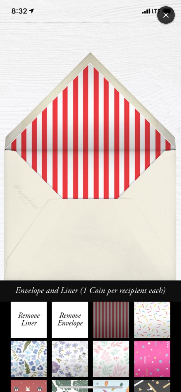 Envelope Edits on App