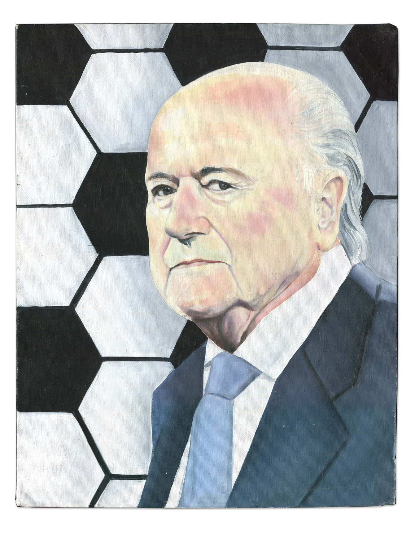 President of FIFA as painted by a man serving 72 years for assault with intent to kill  -